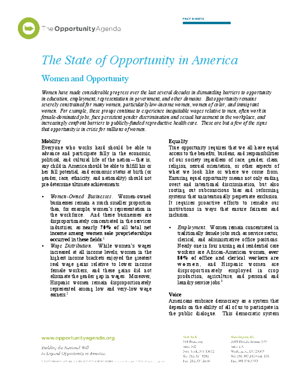 Women and Opportunity