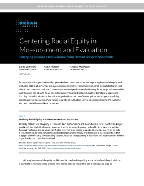 Centering Racial Equity in Measurement and Evaluation: Emerging Lessons and Guidance from Human Services Nonprofits