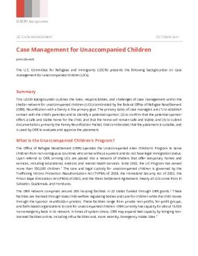USCRI Backgrounder: Case Management for Unaccompanied Children
